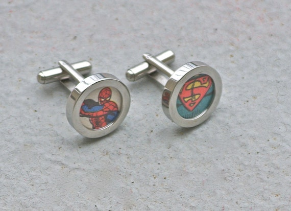 Superman and Spider-man Superhero Cuff links Cufflinks marvel and dc vintage comic books recycled comics superheroes