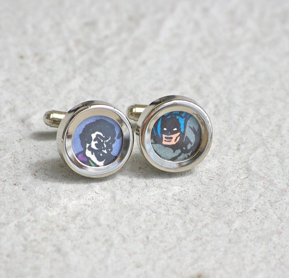 Batman and Joker Cuff links Gotham City Cufflinks recycled superhero accessories for geeks upcycled comic book comics dc superheroes JLA