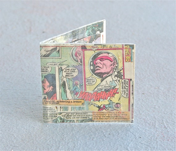 Sewn Mr. Freeze Wallet Batman collage villain wallet recycled upcycled vintage comic book dc superheroes bi-fold billfold hand made