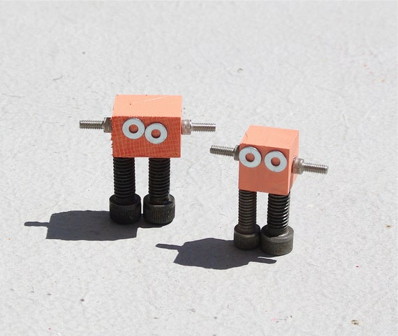 Robots set of two handmade orange peach bots robot pair handmade from reclaimed wood upcycled metal scraps