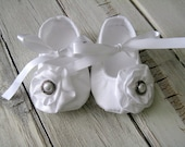 White Baby Blessing Shoes - Christening Baptism Baby Shoes - Christening Booties - Blessing Booties - Baptism Booties - White Baby Shoes