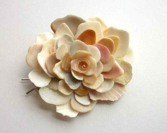 Shell Hair Accessory, Beach Wedding, Sea Shell Flower Barrette