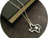 sterling silver texas necklace. gift for her under 25. lone star state city austin.