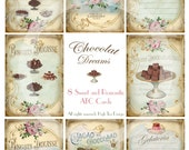 CHOCOLAT DREAMS - ATC cards - Set of 8 Sweet and Romantic Chocolat Cards - Collage sheet  - Digital download