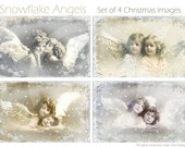 SNOWFLAKE ANGELS -  Set of 4 Big ATC cards  - Collage Sheet - Shabby Chic - Printable Download - Scrapbooking
