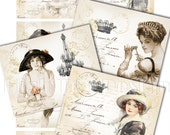 LIFE IN PARIS - Set of 8 Atc images - Digital Download - Scrapbooking - French Chic