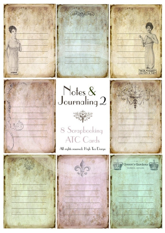 Notes & Journaling 2 -  Set of 8 Scrapbooking  ATC Cards - TAGS - Digital Doownload - Collage Sheet