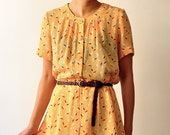 Vintage Japanese Yellow Short-Sleeves Dress