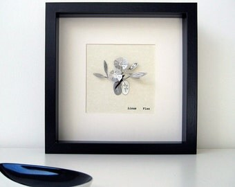 Flax Botanical Illustration in stainless steel