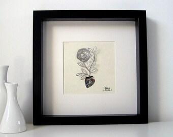 single rose botanical illustration in stainless steel