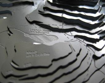 Ben Nevis Wapenmap : stainless steel contoured map sculpture