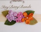 Lavender, Purple, and Orange Satin Three Flower Infant, Newborn, Toddler, Adult Stretch Tan Headband Hairband Bow