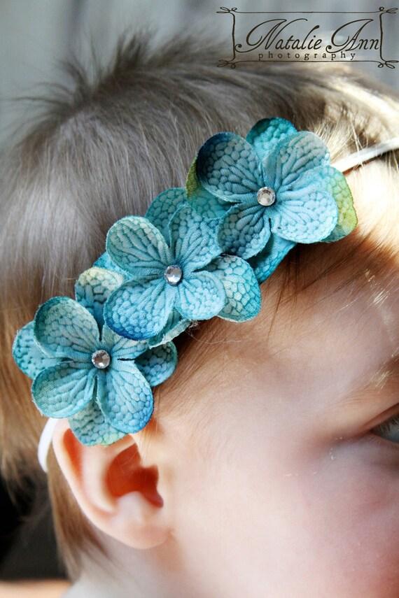 Petite Blue Three Flower Swarovski Crystal Rhinestone Infant, Baby, Toddler, Adult Stretch white Headband Christening Headband Bow