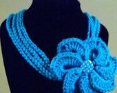 Blue Mint Crochet Necklace with Flower Ready To Ship