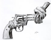"""SALE Original Charcoal Drawing, Knotted Gun, Framed 22x27"""""""