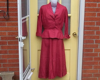 Asymetrical Red 40s Forties Dress and Jacket Smashing The Devil is in the Details Estate Christmas red