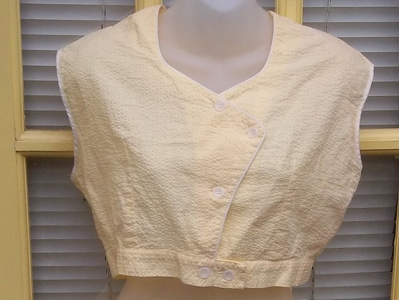 JUST FOR CANDY on Hold....Vintage 50s Fifties Yellow White Summer Seersucker Pin Up Girl Shorts Shirt Playsuit Midriff Top Larger Size