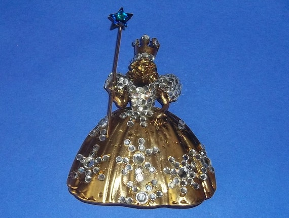 Signed Wendy Gell Wizard of Oz Glinda Good Witch Brooch Pin Estate Rare