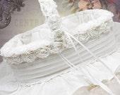 Flower Girl Basket Ring Bearer Pillow OOAK Shabby Chic Style