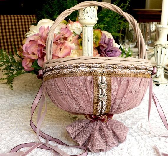 Lace Flower Girl Basket in Lavender