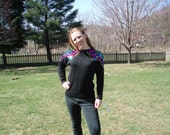 Black 80's sweater with Bright Sequined Shoulders