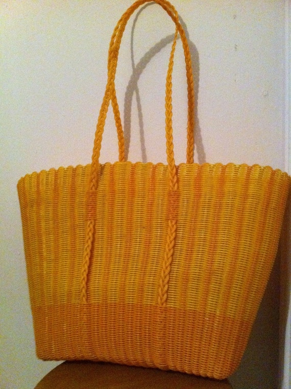 Vintage Yellow and Orange Woven Plastic Bag