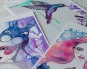 5x7 Art Print Set - Lavender Garden Beauties