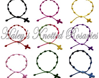 Hand Made - 5 Knotted Rosary Bracelets - Choice of Color