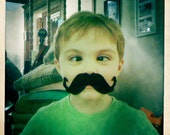 Be a Strong Silly Man 4x4 photograph Little Boy with Strongman Mustache Masculine, Manly, Silly, Cute Fun Love
