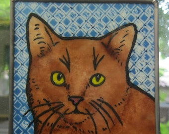 Stained Glass Cat kiln-fired Suncatcher  JRNcat11
