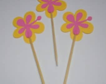 Hawaiian Flower Cupcake Toppers
