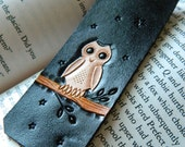 Leather Bookmark - Wise Owl - Hand Carved and Tooled - Original Starry Night Owl Design - Hedwig Harry Potter - CoastalMaineCreation
