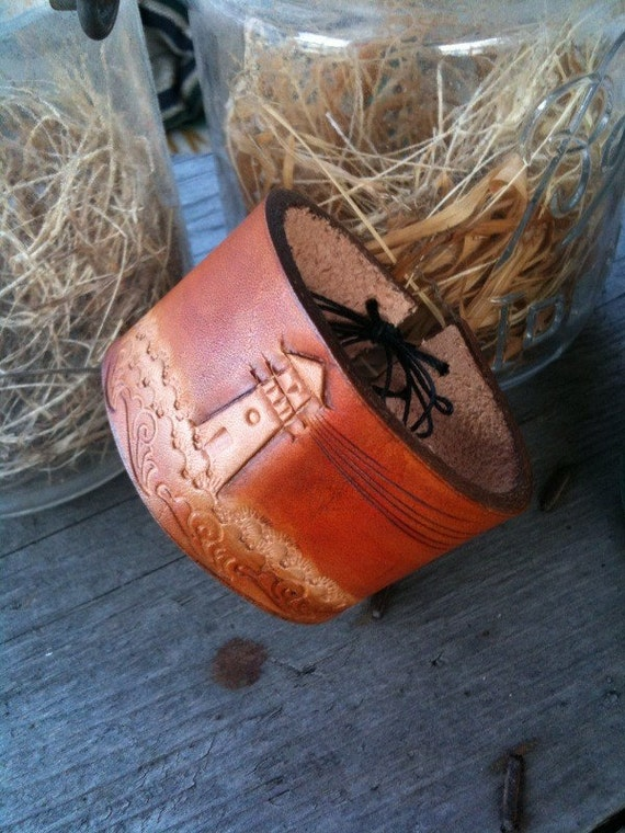 Leather Lighthouse Cuff Bracelet