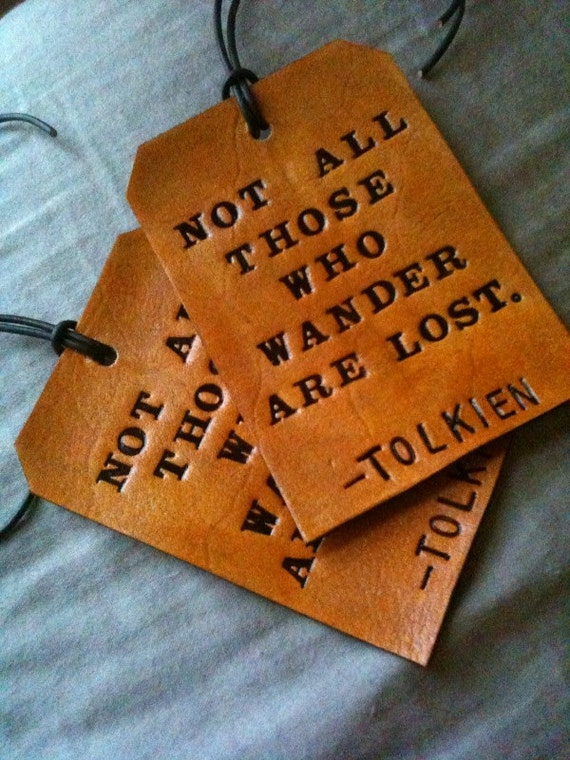 Leather Luggage Tag Set - His and Hers - Tolkien LOTR - Set of Two Leather Luggage Tags - Hand Tooled luggage tag set