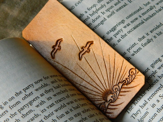 Leather Bookmark - Ocean Sunset Design - Hand Tooled - Nautical