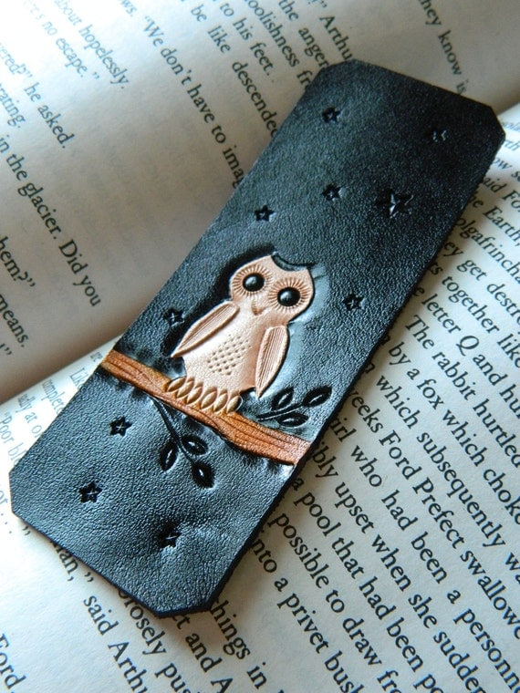 Leather Bookmark - Wise Owl - Hand Carved and Tooled - Original Starry Night Owl Design - Hedwig Harry Potter