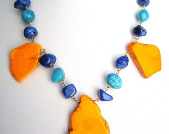 Big Orange Magnesite with Aqua and Cobalt Blue Jade Chunky Necklace