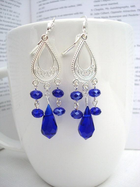 Cobalt or Royal Blue Faceted Teardrop Chandelier Earrings