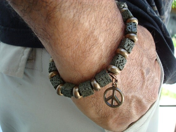 Men's Olive Green Cube Lava and Brass Peace and Love Spiritual Bracelet