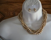 reserved 4 Melissa  champagne 4 strand necklace with free earrings