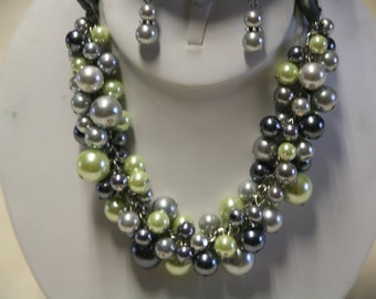 Bridesmaids necklace in grays and lime greens chunky bib necklace bridesmaids jewelry