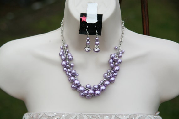 10 DOLLARS  Light purple cluster necklace on an antique silver trinity brass chain necklace and earrings clearanced