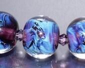 Handmade Lampwork Silver Glass Bead Set -Psyched Up Purples -  SRA FHFteam Y3 GBUK UK Seller Cpteam