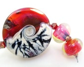 Reduced - Handmade Lampwork Silver Glass Bead focal Set - Hot to the Core  - FHFteam Y3 GBUK UK Seller Cpteam