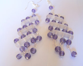 Purple, white. earring, handmade, purple crystals, frosty glass spacer