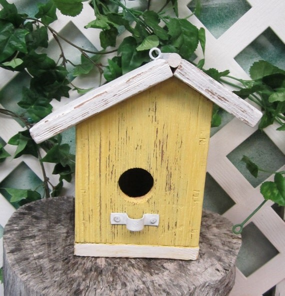 Primitive barn wood bird house yellow white by - Old barn wood bird houses ...