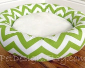"""READY-to-SHIP - One-Piece 22"""" - Dog Bed - Cat Bed - Chevron Chartreuse & White with Soft Minky Fleece"""