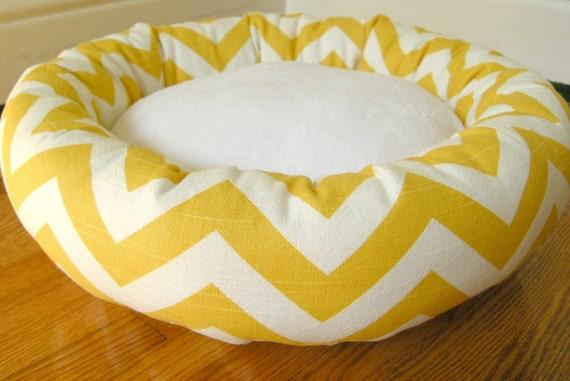 Dog Bed - Cat Bed - Autumn Yellow & White Zig Zag, Chevron with Soft Minky Fleece