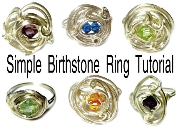 simple birthstone rings tutorial by shirleyjdesigns on etsy