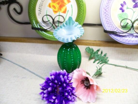 SALE - SALE  Vintage 1950 Fenton Joy Overlay Beaded Melon Jack-in-the-Pulpit Vase